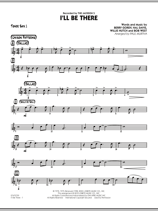 I'll Be There - Tenor Sax 1 (Jazz Ensemble)