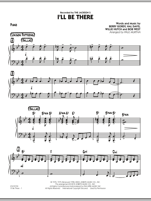 I'll Be There - Piano (Jazz Ensemble)