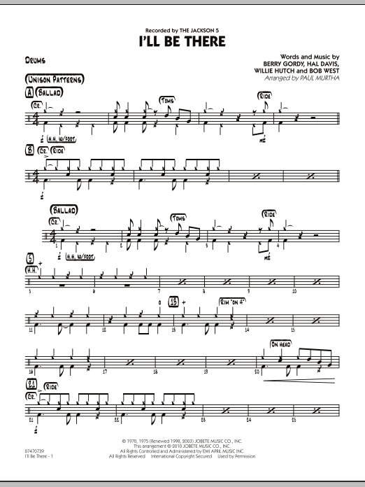 I'll Be There - Drums (Jazz Ensemble)