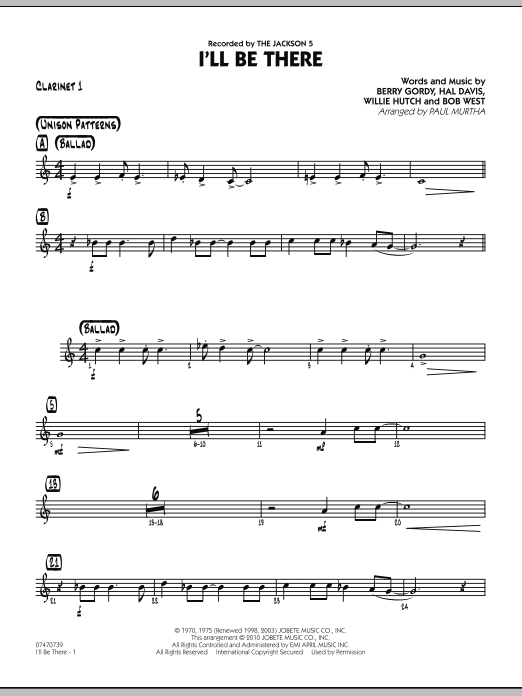 I'll Be There - Bb Clarinet 1 (Jazz Ensemble)