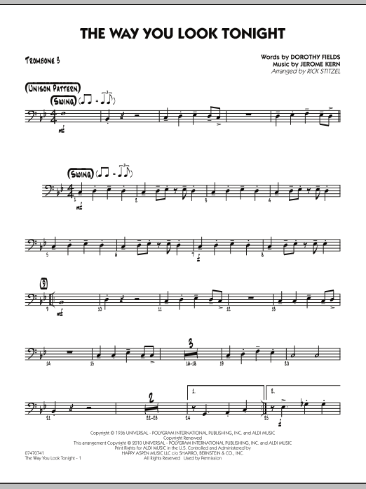 The Way You Look Tonight - Trombone 3 (Jazz Ensemble)