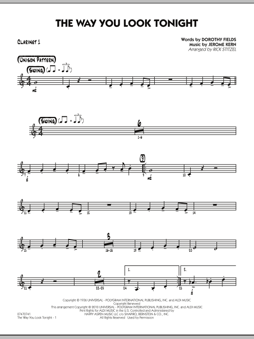 The Way You Look Tonight - Bb Clarinet 1 (Jazz Ensemble)