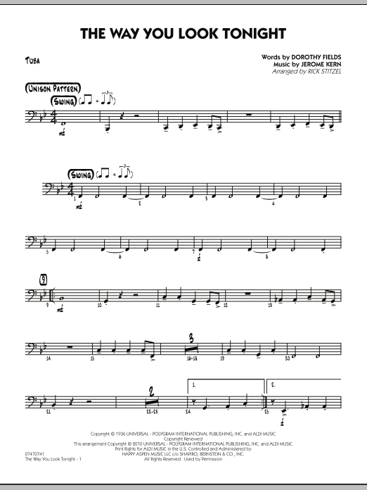 The Way You Look Tonight - Tuba (Jazz Ensemble)