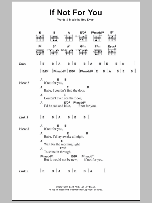 If Not For You Sheet Music