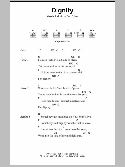 Dignity Sheet Music