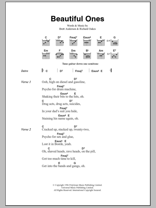 Beautiful Ones by Suede - Guitar Chords/Lyrics - Guitar Instructor