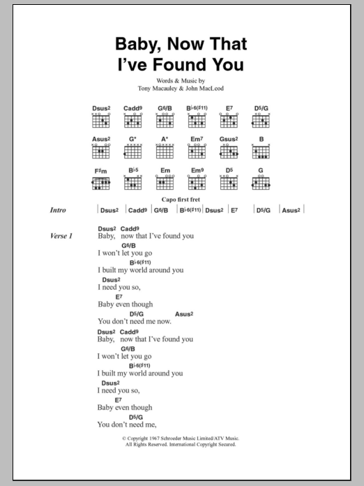 Baby Now That Ive Found You By The Foundations Guitar Chords