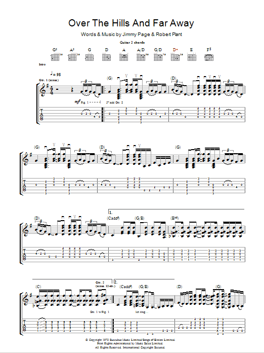 Over The Hills And Far Away by Led Zeppelin - Guitar Tab - Guitar Instructor