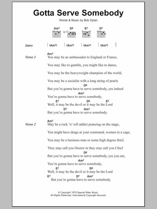 Gotta Serve Somebody by Bob Dylan - Guitar Chords/Lyrics - Guitar ...
