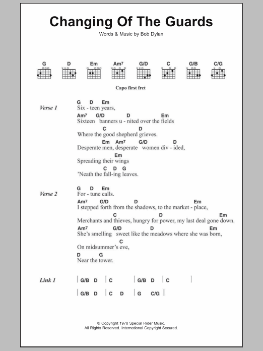 Changing Of The Guards Sheet Music