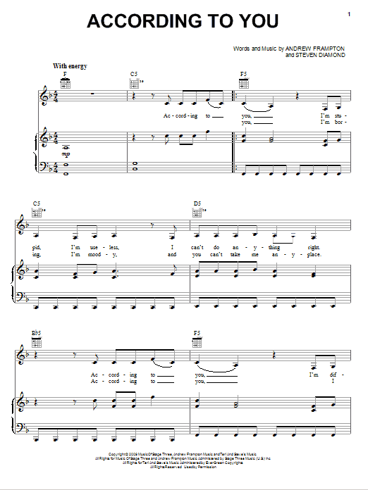 Partition piano According To You de Orianthi - Piano Voix Guitare (Mélodie Main Droite)