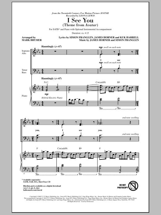 I See You (Theme from Avatar) (SATB Choir)