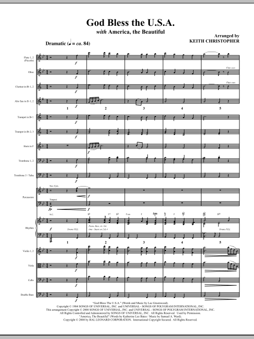 God Bless The U.S.A (with America, The Beautiful) (COMPLETE) sheet music for orchestra/band (Orchestra) by Keith Christopher. Score Image Preview.
