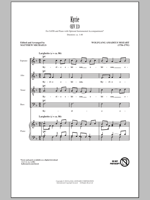 Kyrie (KV33) (SATB Choir)