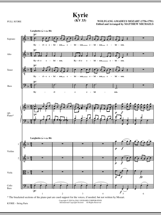 Kyrie (KV33) (COMPLETE) sheet music for orchestra/band (Strings) by Wolfgang Amadeus Mozart and Matthew Michaels. Score Image Preview.