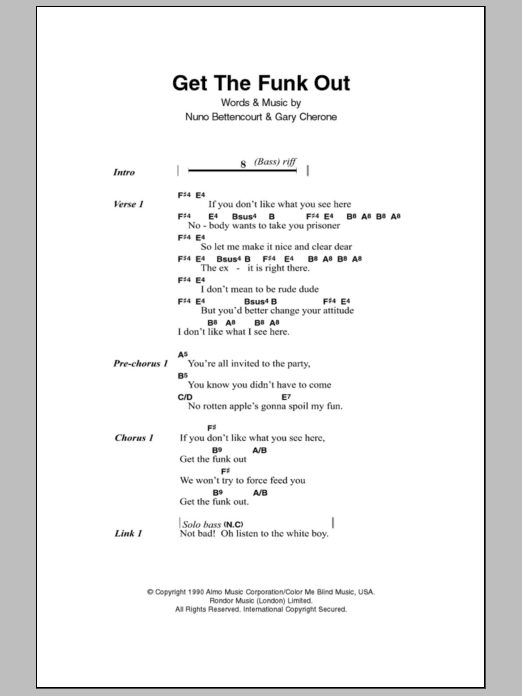 Get The Funk Out Sheet Music Direct