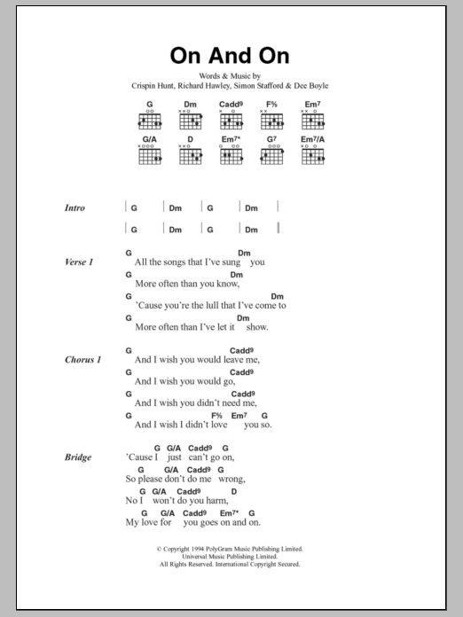 On And On Sheet Music The Longpigs Lyrics Chords
