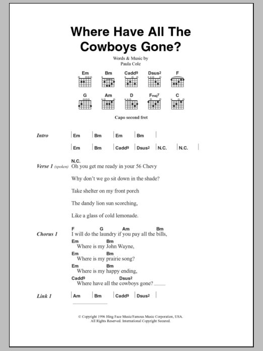 Where Have All The Cowboys Gone? Sheet Music