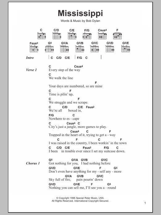 Mississippi by Bob Dylan - Guitar Chords/Lyrics - Guitar Instructor