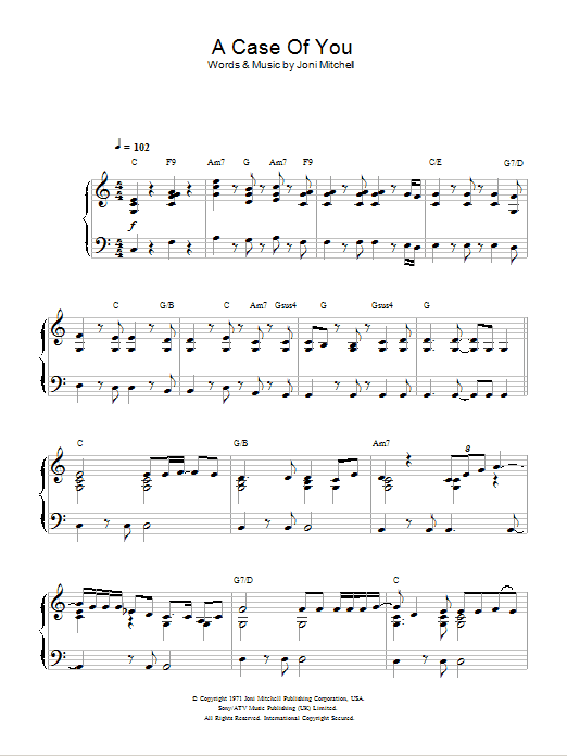 A Case Of You Sheet Music