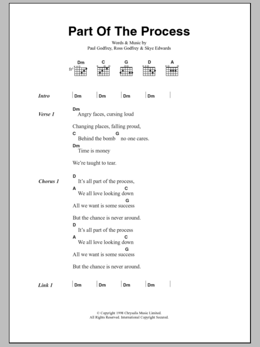 Part Of The Process Sheet Music