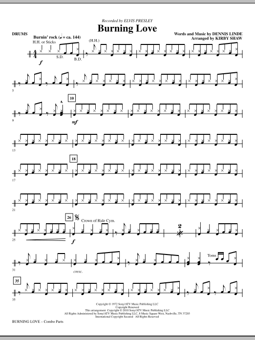 Burning Love - Drums Sheet Music