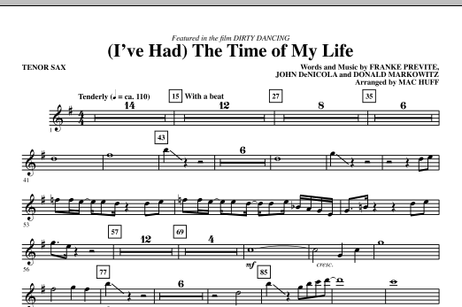 (I've Had) The Time Of My Life - Tenor Sax Sheet Music