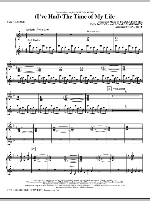 (I've Had) The Time Of My Life - Synthesizer Sheet Music