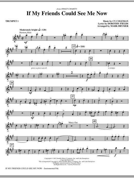 If My Friends Could See Me Now (from Sweet Charity) (complete set of parts) sheet music for orchestra/band (chamber ensemble) by Dorothy Fields, Cy Coleman and Mark Brymer. Score Image Preview.