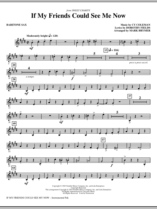 If My Friends Could See Me Now (from Sweet Charity) - Baritone Sax (Choir Instrumental Pak)