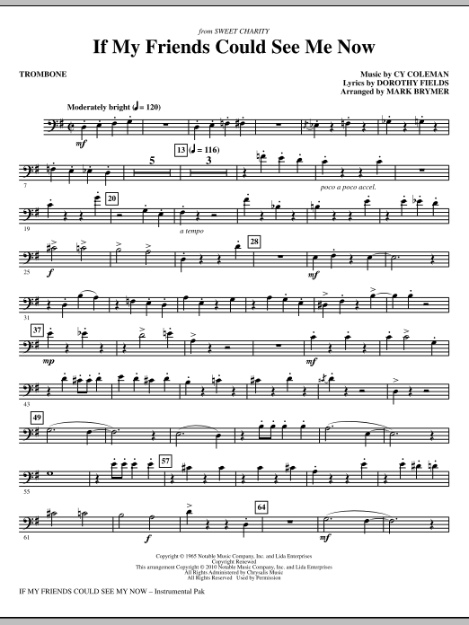 If My Friends Could See Me Now (from Sweet Charity) - Trombone (Choir Instrumental Pak)