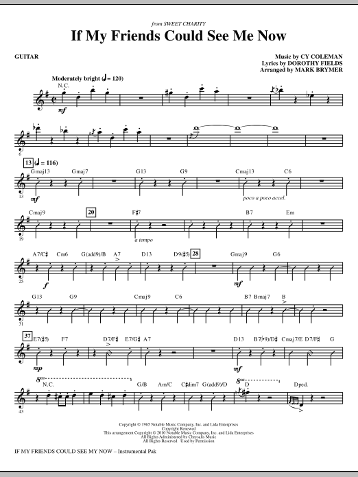 If My Friends Could See Me Now (from Sweet Charity) - Guitar (Choir Instrumental Pak)
