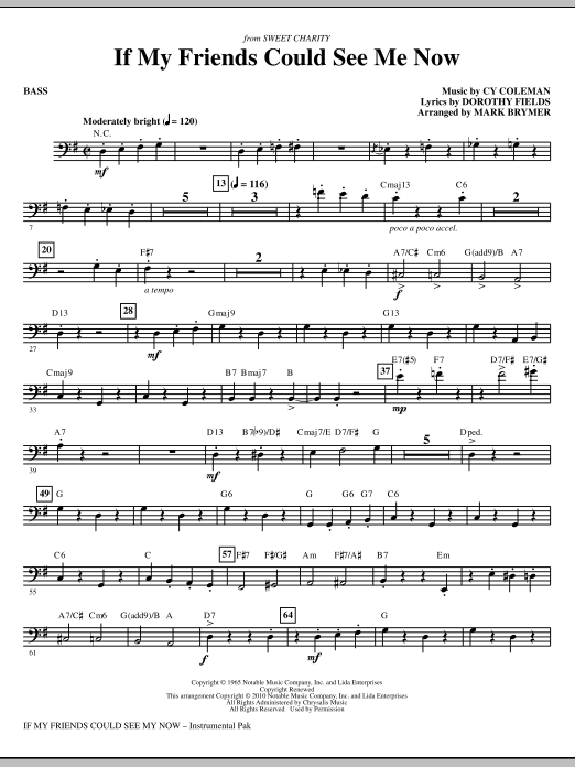 If My Friends Could See Me Now (from Sweet Charity) - Bass (Choir Instrumental Pak)
