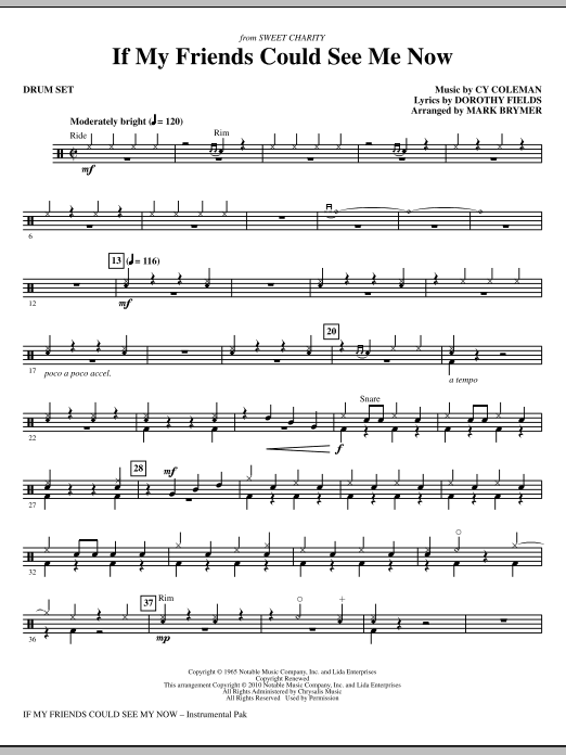 If My Friends Could See Me Now (from Sweet Charity) - Drums (Choir Instrumental Pak)