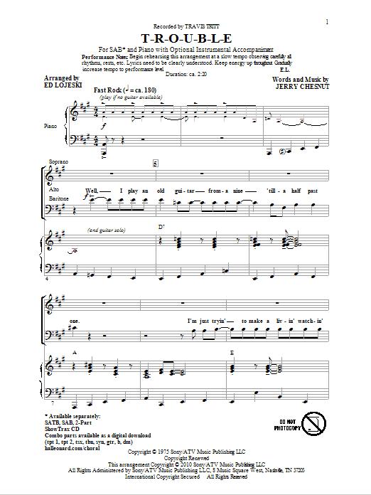T-R-O-U-B-L-E (arr. Ed Lojeski) Sheet Music