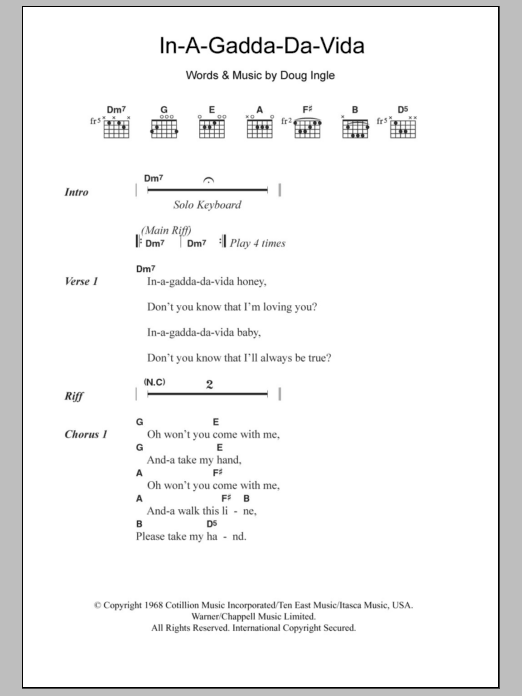 In-A-Gadda-Da-Vida Sheet Music