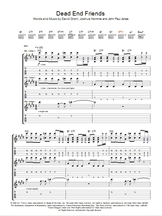 Dead End Friends Sheet Music