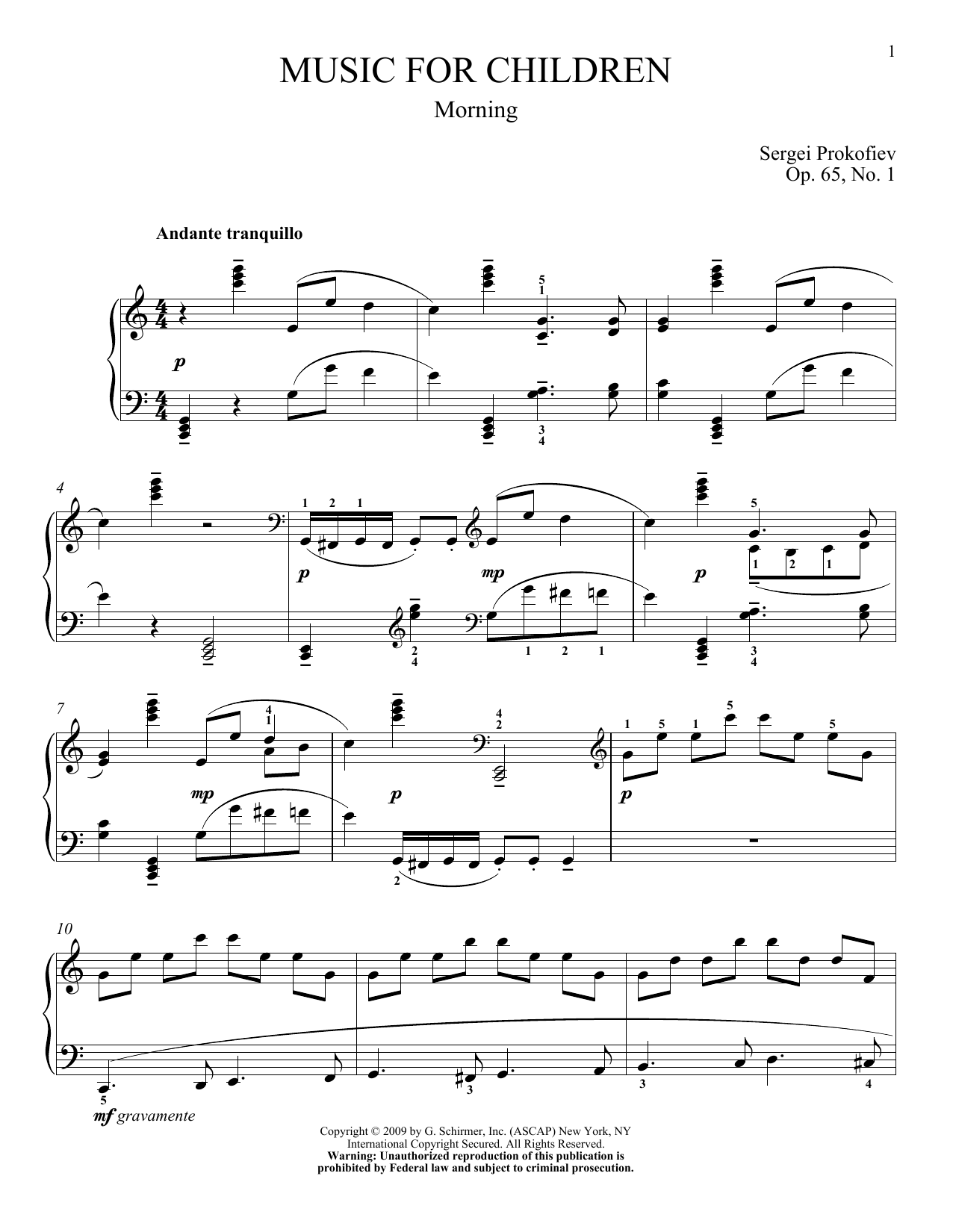 Morning Sheet Music