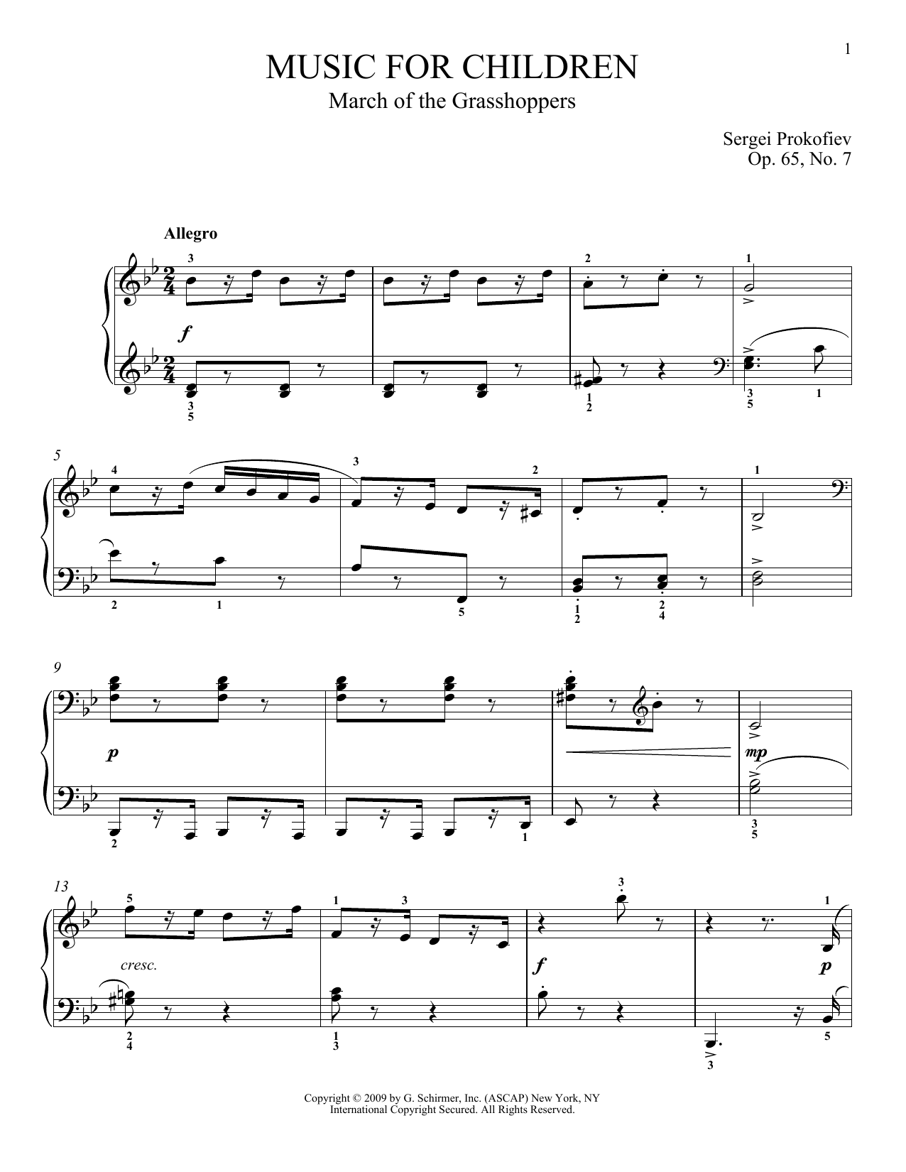 March Of The Grasshoppers Sheet Music