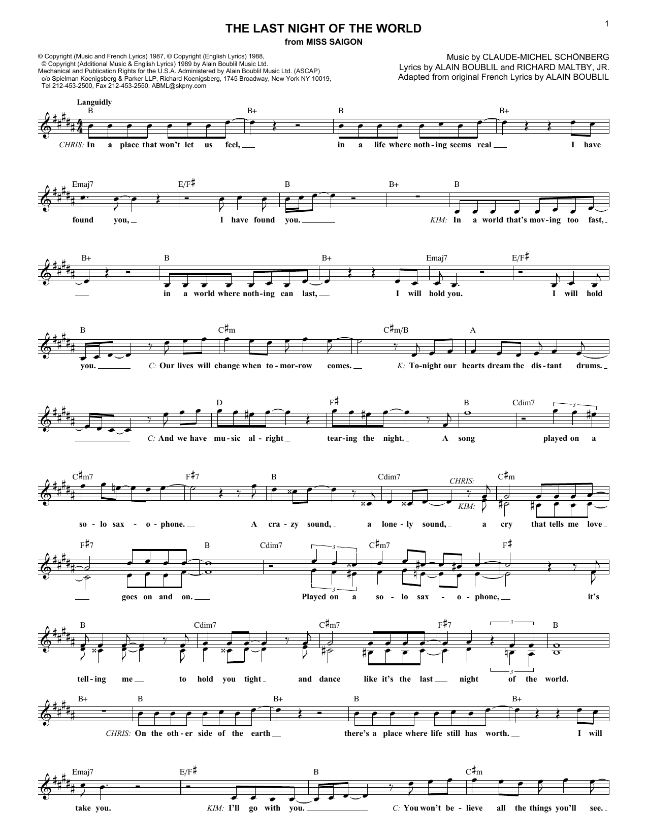 The Last Night Of The World (from Miss Saigon) (Lead Sheet / Fake Book)