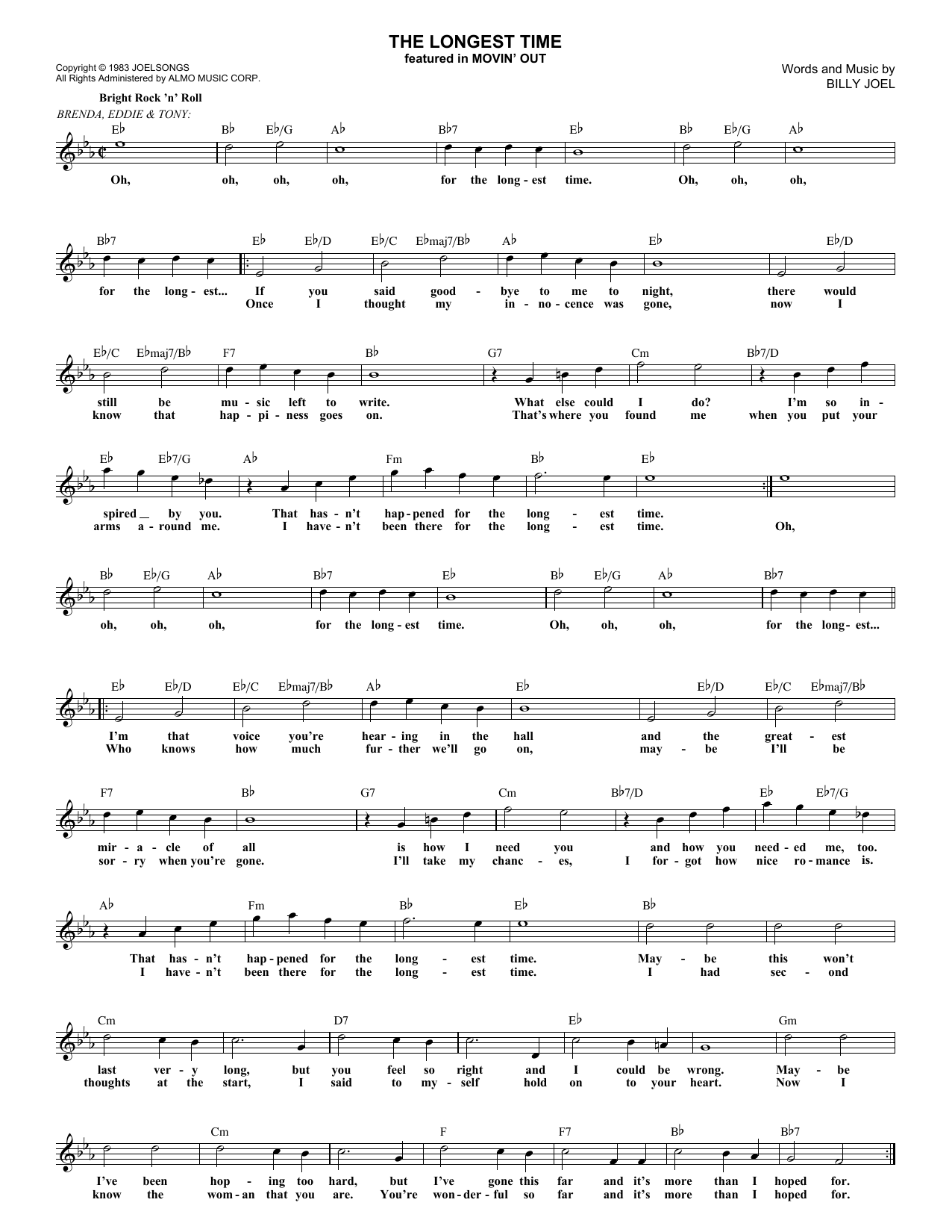 The Longest Time (Lead Sheet / Fake Book)