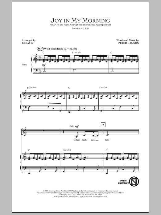 Joy In My Morning (SATB Choir)