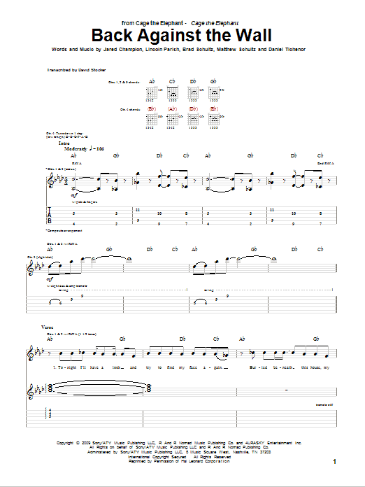 Back Against The Wall Guitar Tab By Cage The Elephant Guitar Tab