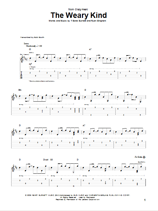 Tablature guitare The Weary Kind de Ryan Bingham - Tablature Guitare