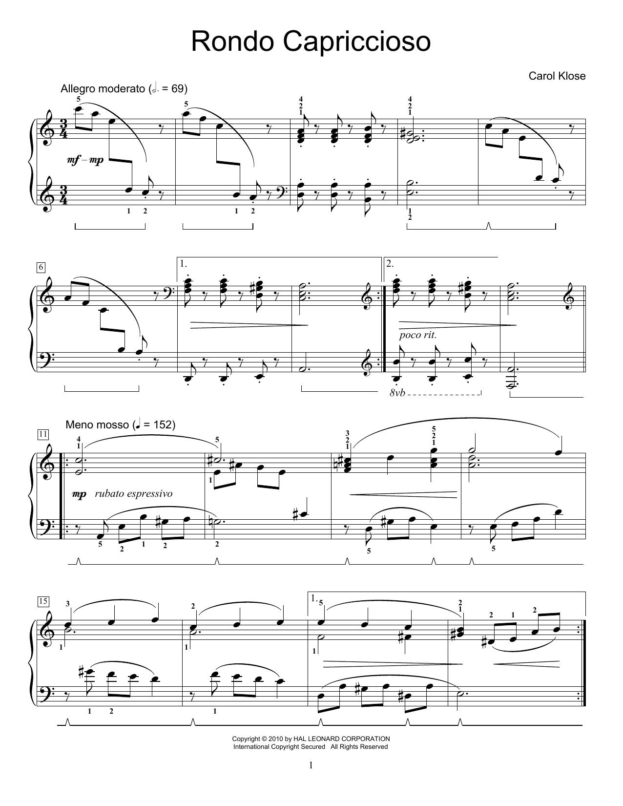 Partition piano Rondo Capriccioso de Carol Klose - Autre