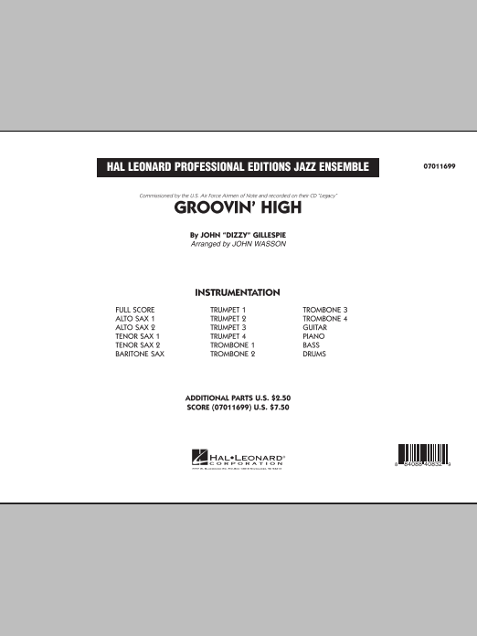 Groovin' High (COMPLETE) sheet music for jazz band by John Wasson and Dizzy Gillespie. Score Image Preview.