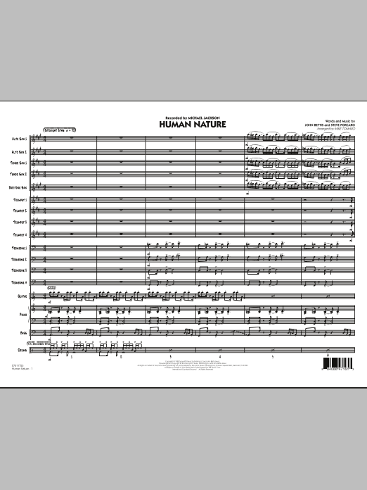 Human Nature (COMPLETE) sheet music for jazz band by Mike Tomaro, John Bettis, Michael Jackson and Steve Porcaro. Score Image Preview.