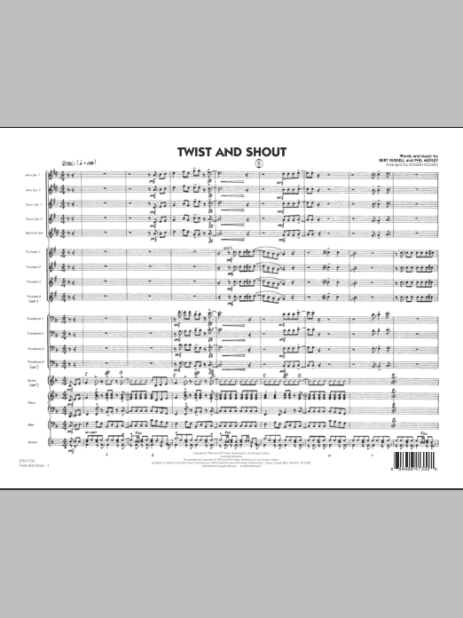 Twist And Shout (COMPLETE) sheet music for jazz band by Roger Holmes, Bert Russell, Phil Medley and The Beatles. Score Image Preview.