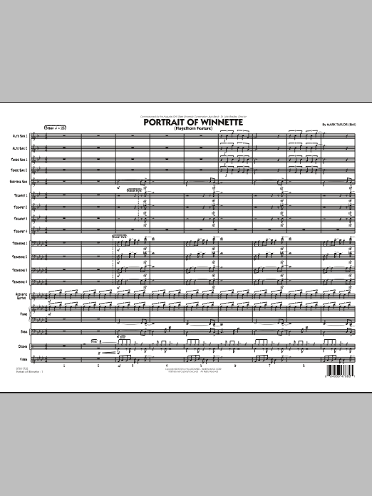 Portrait Of Winnette (COMPLETE) sheet music for jazz band by Mark Taylor. Score Image Preview.