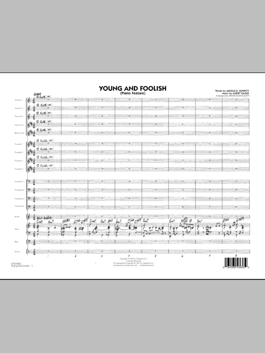 Young And Foolish (COMPLETE) sheet music for jazz band by Frank Mantooth and Albert Hague. Score Image Preview.